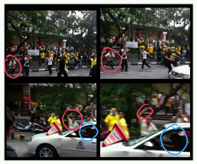 Police car attacked and crashed before turned over Bersih 3.0