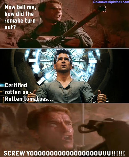 Total Recall Arnold Colin Farrell Screw You