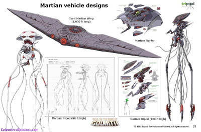 War of the Worlds Goliath Martian vehicle designs alien tripod concept art