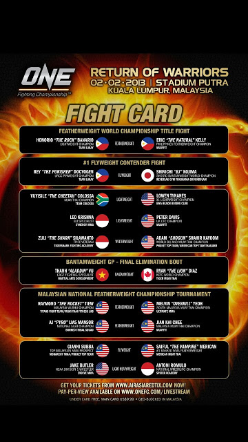 One FC MMA Return of Warriors KL Malaysia 2013 Fight Card