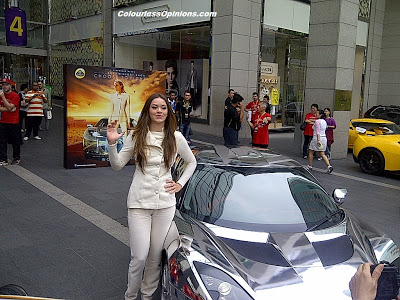 Natasha Seatter drove Chrome Lotus Evora replica during The Host Lotus Convoy Malaysia at Pavilion KL