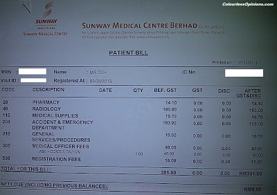 Sunway Medical Centre bill receipt