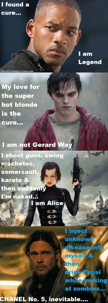 I am Legend, Warm Bodies, Resident Evil Alice, Brat Pitt World War Z meme with photo stills