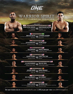 ONEFC 12 Warrior Spirit 2013 Malaysia full fight card