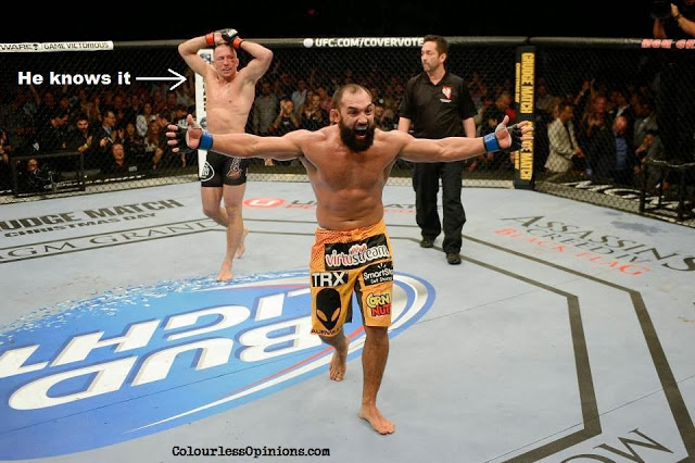 UFC 167 - Johny Hendricks celebrating after round 5 against George St-Pierre
