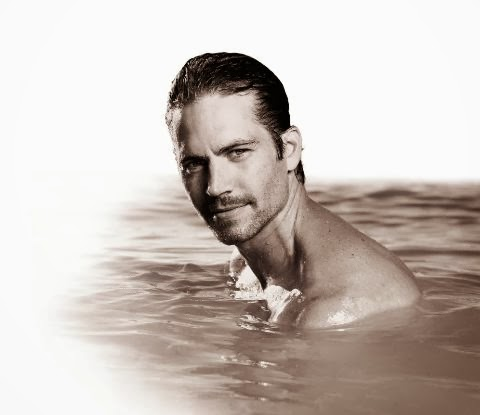 Paul Walker black and white in water RIP