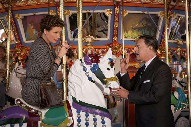 Emma Thompson & Tom Hanks on Merry Go Round Horse in Saving Mr. Banks movie still