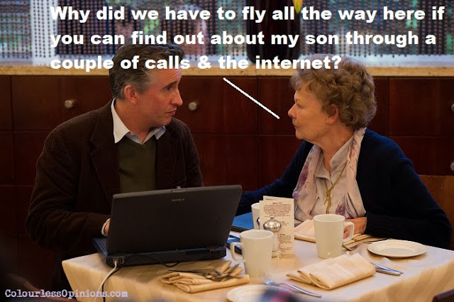 Philomena movie still meme Steve Coogan & Judi Dench