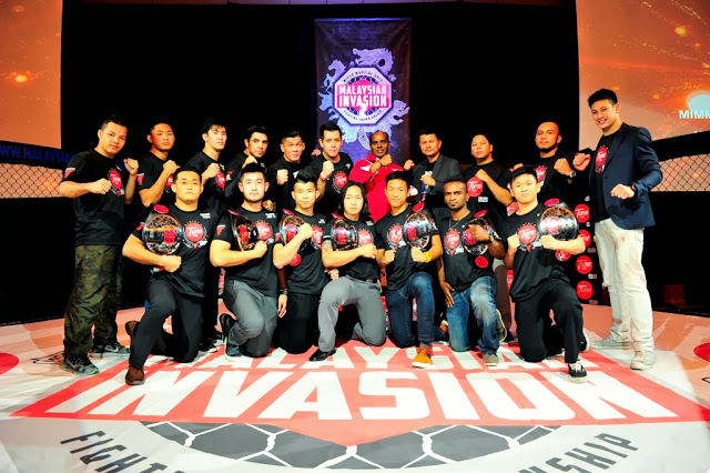 YB Datuk M Saravanan, YB Tuan Jalluddin Abu Hassan, Jason Lo, Victor Cui, Malaysian MMA fighters and MIMMA season 1 champions @ MIMMA 2 press conference