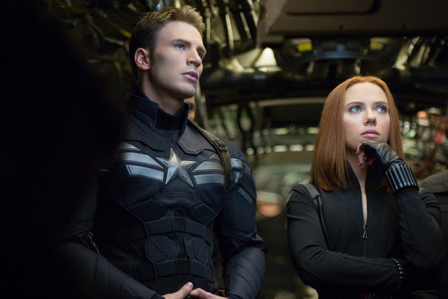 Chris Evans as Captain America & Scarlett Johannson as Black Widow in Winter Soldier movie still