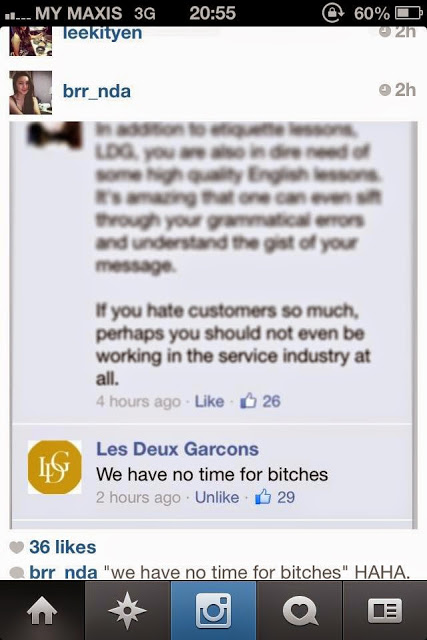 Les Deux Garcons Bangsar cake shop Facebook disaster calls customer bitch