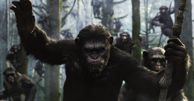 Caesar and army in Dawn of the Planet of the Apes movie still