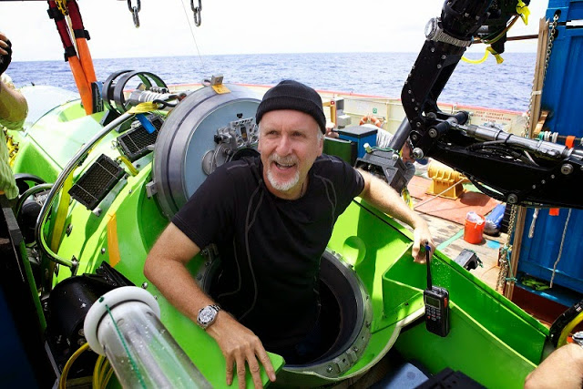James Cameron going in Deepsea Challenger in Deepsea Challenge