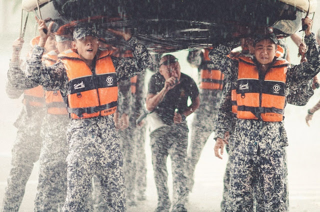 Ah Boys to Men 3 Frogmen still boat exercise rain