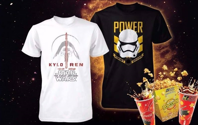 gsc star wars force awakens t-shirts popcorn combo set