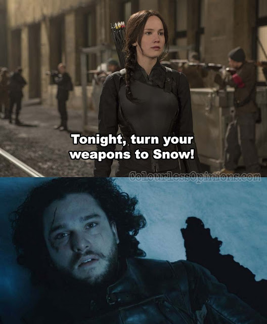 katniss weapons snow hunger games throne meme
