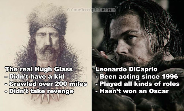 real hugh glass vs leonardo dicaprio revenant fact vs fiction meme