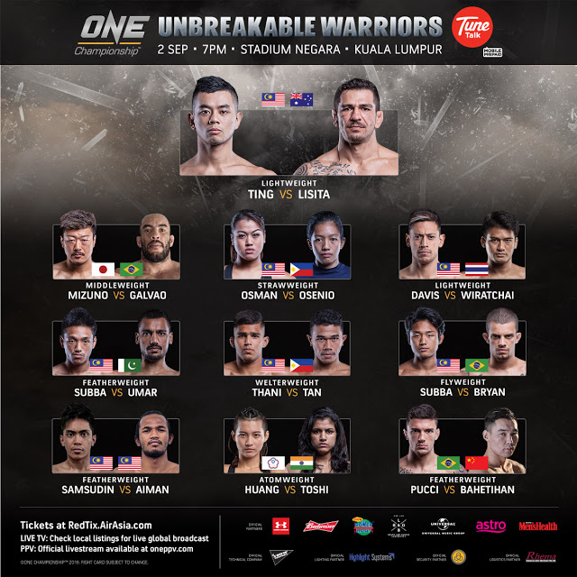 one fc unbreakable warriors fight card