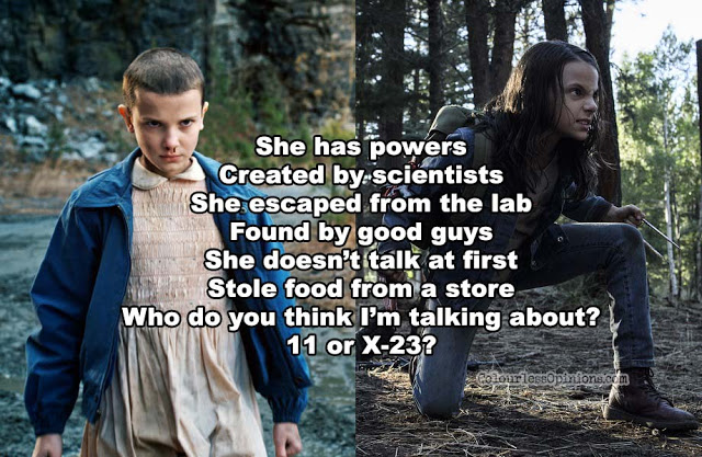 x-23 vs 11 meme logan laura stranger things eleven